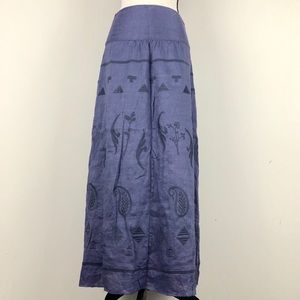 Poetry Fashion Hemp Maxi Embroidered Skirt
